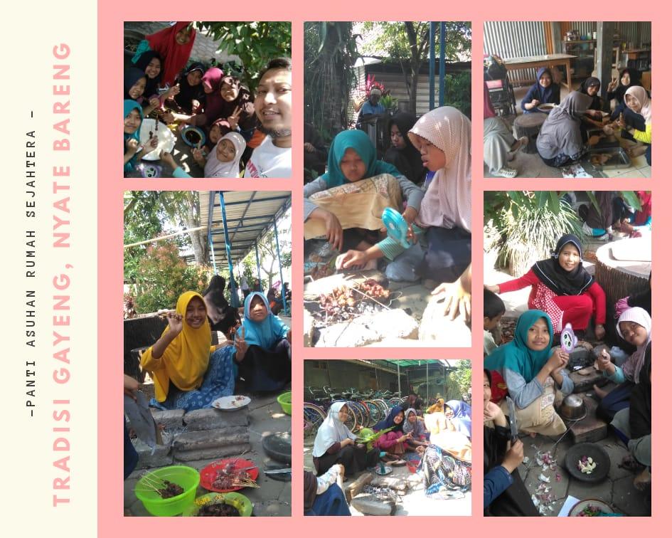 Anak Asuh PARS melakukan tradisi gayeng nyate bareng di komplek Asrama (22/8). Setiap kelompok terdiri dari tujuh anak dengan rata rata 50 tusuk setiap kelompoknya